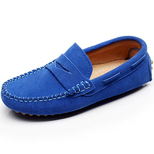 0fa94ef24b6 Shenn Boys  Cute Slip-On Royal Blue Suede Leather Loafers Shoes S8884 US1 -  Buy Online in KSA. Apparel products in Saudi Arabia.