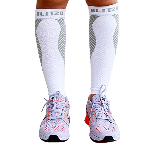 BLITZU Calf Compression Sleeve Socks One Pair Leg Performance Support for Shin Splint & Calf Pain Relief. Men Women Runners Sleeves for Running. Improves Circulation and Recovery White S/M by BLITZU (Image #8)