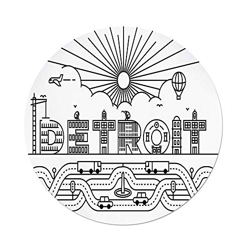 Polyester Round Tablecloth,Detroit Decor,Detroit City Typography with Building Letters Transportation Air Balloon Decorative,Black and White,Dining Room Kitchen Picnic Table Cloth Cover,for Outdoor I