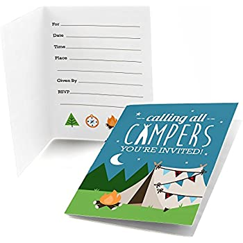 camping themed party invitations fill in style 20 count with