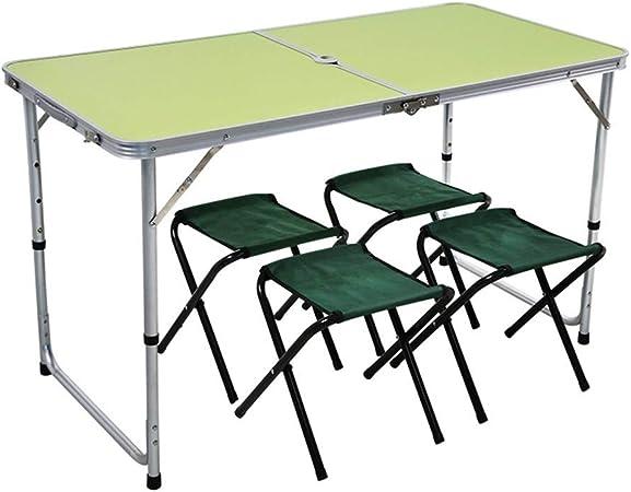 BZHJYLGA Mesa Plegable Folding Mesas Picnic Altura Ajustable para Acampar Mesas Plegables De Aluminio Portátiles Al Aire Libre para Jardín, 4 Colores (Color : C, Size : 120CMX60CMX70CM): Amazon.es: Hogar