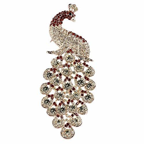 (EVER FAITH Austrian Crystal Elegant Peacock Bird Animal Brooch Pendant Brown Gold-Tone)