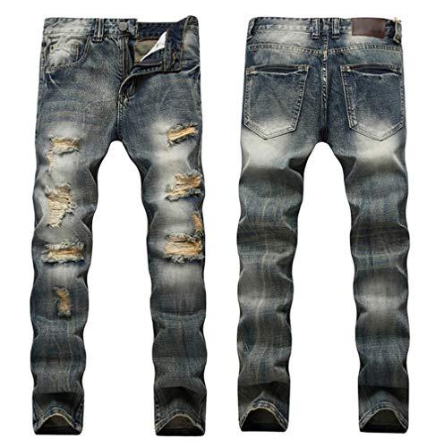 Homme Denim Pants - LXLDH Ripped Destroyed Hip Hop Jean Homme Fashion Men's Jean Slim Jeans for Male Pants(955,30)