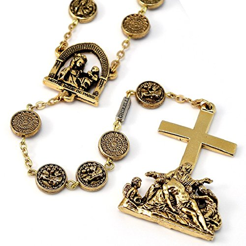 Cathedral Rosary in antique gold plated finish by Ghirelli ()