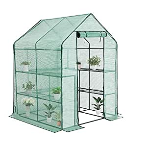 91793adaa994 YOUKE Walk-in Greenhouse PE Cloth Cover Garden House Succulent Plants  Flowers Green Plant Insulation Family (56''x56''x77'')