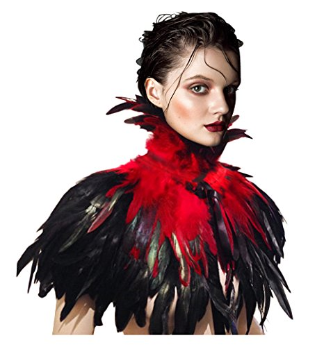 Feather Outerwear (L'vow Gothic Victorian Natural Feather Shrug Cape Shawl Choker Neck Wrap Collar Hallowmas (Red))