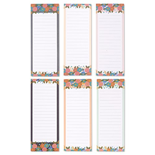 To-do-List Notepad - 6-Pack Magnetic Notepads, Grocery List Magnet Pad Stationery for To Do List, Modern Floral Designs, 60 Sheets Per ()