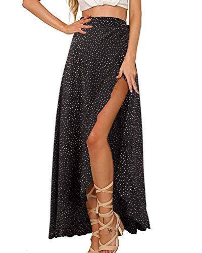 (GIKING Women Casual Skirts, Polka Dots Ruffles Split Beach Wrap Skirts Black S)