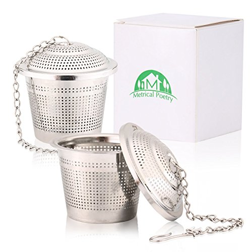 Metrical Poetry Loose Tea Infuser (Set of 2) for Loose Leaf Grain Tea Cups, Mugs, and Teapot - 304 Grade Ultra Fine Stainless Steel Strainer