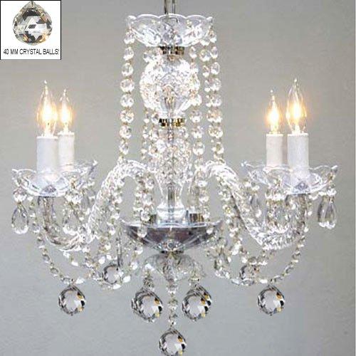 Swarovski Crystal Trimmed Chandelier! Chandelier Chandeliers Lighting W/ 40MM Crystal Balls