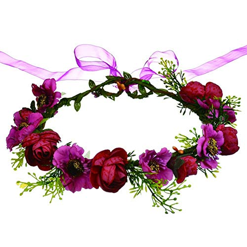 JaneDream Handmade Boho Red Flower Crown Hair Wreath for sale  Delivered anywhere in Canada