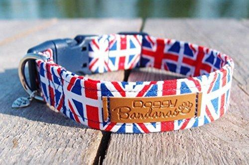 Union Jack Dog Collar Pattern Patriotic Dog Collar Adjustable London Dog Collars Red and Blue Dog Collar British Flag Dog Collar XSmall/Small/Medium/Large/XLarge ()