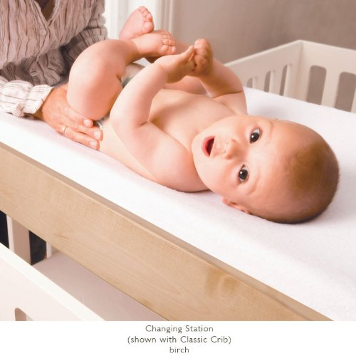 Oeuf Classic Crib + Changing Station in Birch/White