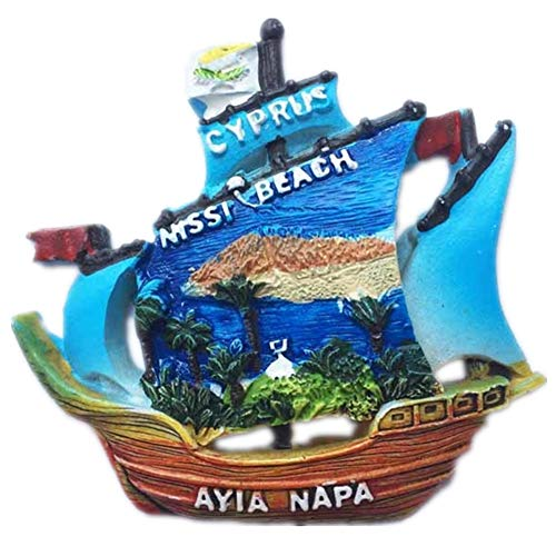 Fridge Magnet Ayia Napa Sailboat Cyprus 3D Resin Handmade Craft Tourist Travel City Souvenir Collection Letter Refrigerator Sticker -