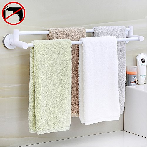 HOOMTAOOK Double Towel Bar Rack Super Power Vacuum Suction N