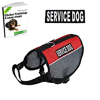 Service Dog Vest - BONUS eBook on Clicker Training Included - Lightweight - 2 Free Removable Patches - PLEASE MEASURE TWICE BEFORE BUYING