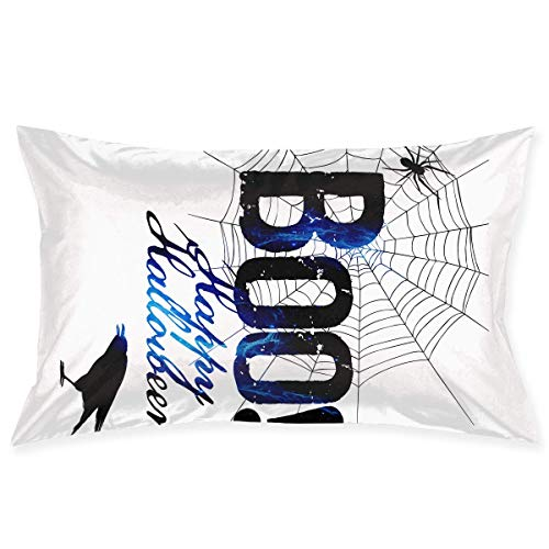 (Xjdlkvo Boo Happy Halloween Free Printable Pillowcases Decorative Pillow Covers Soft and Cozy, Standard Size 20