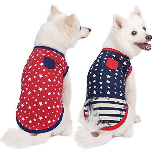 Blueberry Pet Pack of 2 Soft & Comfy Patriotic Spirit USA Stars Stripes American Flag Cotton Blend Dog T Shirts, Back Length 14