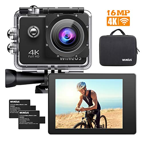 WiMiUS 4K 16MP WiFi Action Camera 40M Underwater Camera 170 Degree Wide Angle Sports Camcorder with Dual Rechargeable Batteries Waterproof Case Bike Helmet Cam and Kit of Accessories