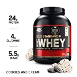 Optimum Nutrition (ON) Gold Standard 100% Whey Protein Powder – 5 lbs, 2.27 kg (Cookies & Cream), Primary Source Isolate