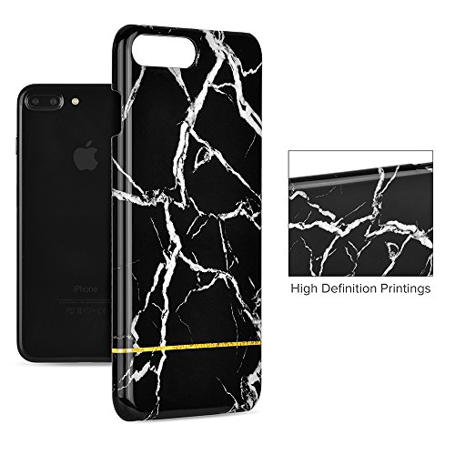 Funda iPhone 7 Plus , GMYLE Apple iPhone 7 Plus 5.5 Funda Carcasa Case [Mármol blanco] Mármol Negro con correa del oro