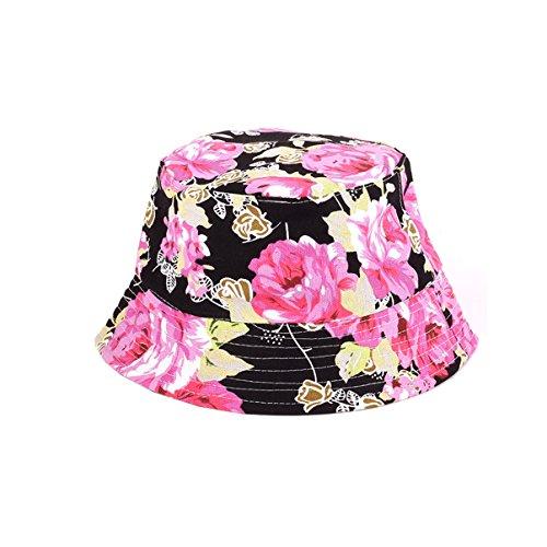 Eohak Floral Print Bucket Hat Black Printed Summer Women Men Fisherman Cap Packable Reversible Bucket Hat (Style2) ()