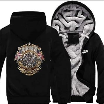 冬に適したメンズパーカーフルジッパーベルベットの海軍ロゴプリント厚いフード付きのセーターのコートのフリースパーカー、