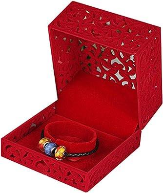 FIONAT Organizadores Y Cajas para Joyas Caja Recortada De Boda Collar con Colgante Anillo De Pulsera Que Muestra El Matrimonio Regalo De Cumpleaños - Rojo, Caja De Brazaletes: Amazon.es: Joyería