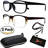 (#RG131 Blk & Brn) Men Women Unisex Retro Classic Reading Glasses Reader Eye Wear Glasses Spring Hinged Round With Free Pouch (2 Pairs Wayfarer, 1.50)