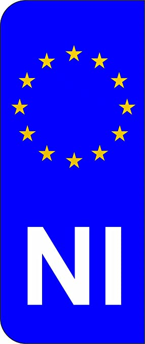 Northern ireland ni eu euro flag car number plate domed sticker decal pack of 2