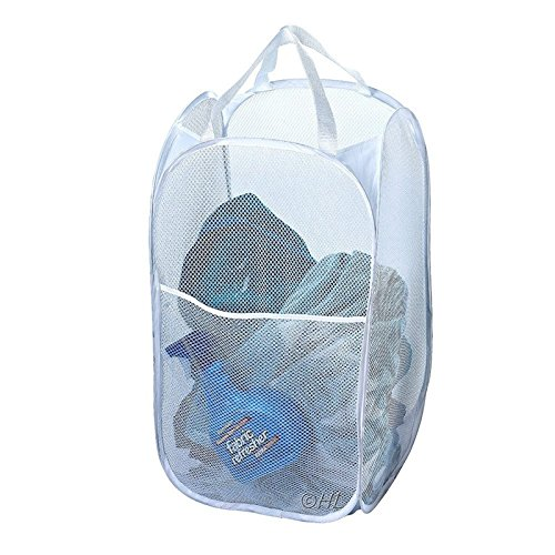 Mesh Fabric Foldable Pop Up Dirty Clothes Washing Laundry Basket Bag Bin Hamper Storage for Home Housekeeping Use -Pier 27