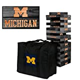 NCAA Michigan Wolverines 850310Michigan Wolverines Onyx Stained Giant Wooden Tumble Tower Game, Multicolor, One Size