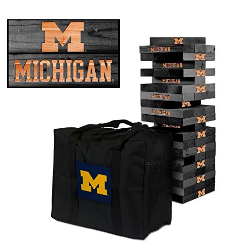 NCAA Michigan Wolverines 850310Michigan Wolverines Onyx Stained Giant Wooden Tumble Tower Game, Multicolor, One Size by Victory Tailgate