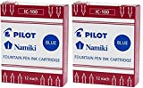 Pilot Namiki IC100 Fountain Pen Ink Cartridge, Blue, 12 Cartridges per Pack (Pack of 2)