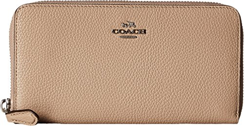 COACH Women's Pebbled Accordion Zip Wallet Sv/Stone Wallets by Coach