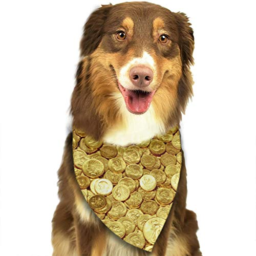 TLDRZD Dog Bandana Gold Coins Amazing Printed Pet Triangle Scarf Festive Accessory for Puppies