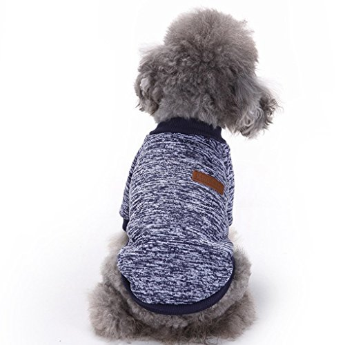 CHBORLESS Pet Dog Classic Knitwear Sweater Warm Winter Puppy Pet Coat Soft Sweater Clothing For Small Dogs (L, Navy blue)