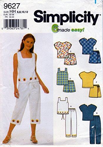 Simplicity Pattern 9627 Misses' Set of Tops, Pants, Shorts or Skort, Size HH (6-8-10-12) (Vintage Skort)