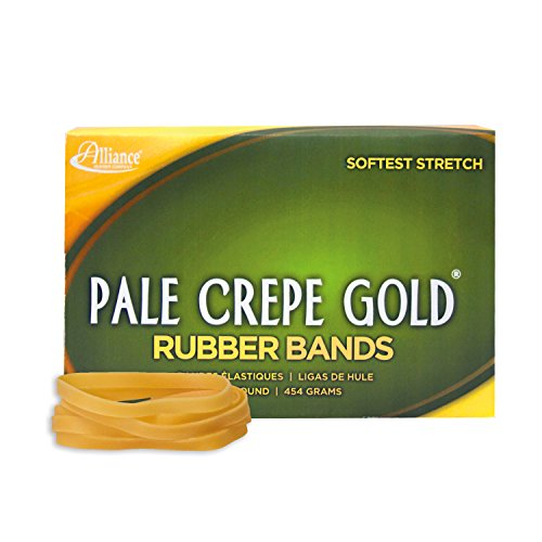 Alliance Rubber 20645 Pale Crepe Gold Rubber Bands Size #64, 1 lb Box Contains Approx. 490 Bands (3 1/2