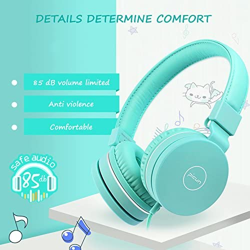 Kids Headphones, Wired Adjustable Foldable Headsets with Microphone, Volume Control and 85dB Volume Limited Hearing Protection for Fire 7 HD8 HD10 Kids Edition Nintendo Switch PS4 Xbox One S X PC
