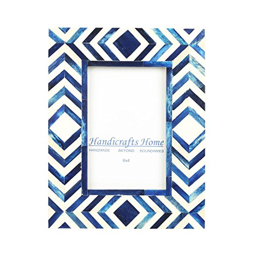 (Handicrafts Home 4x6 Photo Frame Blue White Bone Mosaic Moroccan Picture Frames)