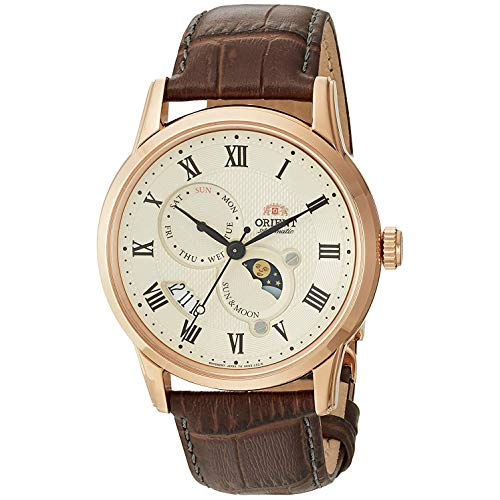Orient Men's Sun and Moon Version 3 Stainless Steel Japanese-Automatic Watch with Leather Calfskin Strap