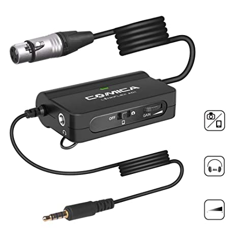 Comica LinkFlexAD1 Microphone Preamp Xlr to 3 5mm Audio Adapter with  Real-time Audio Monitoring,Stepless Gain Control,xlr to Trs/Trrs Adapter  for DSLR