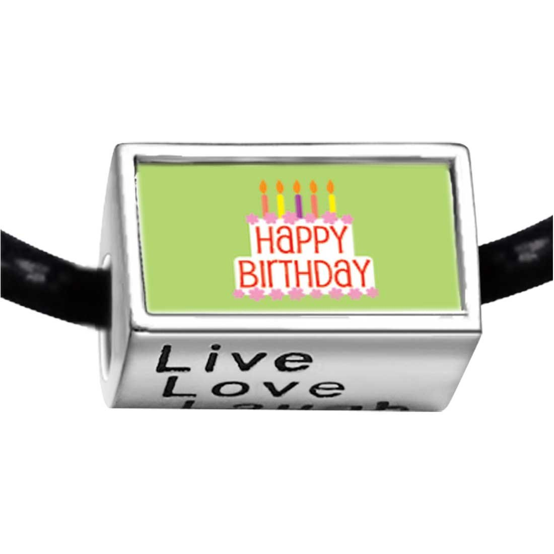 5baaeb20aacf5 Amazon.com: GiftJewelryShop Silver Plated Happy Birthday Green Photo Live  Love Laugh Charm Beads Bracelets European Bracelets: Jewelry