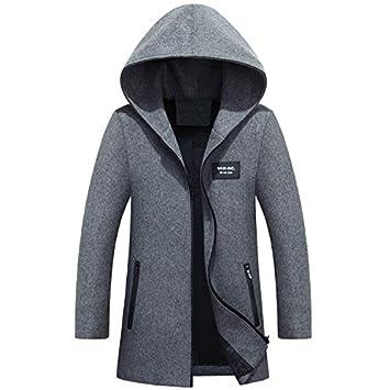 Abrigo de lana de invierno de otoño e invierno hombres abrigo de lana rompevientos chaqueta a cuadros abrigo de hombre chaqueta, gris, L: Amazon.es: ...