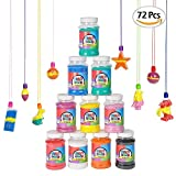 ArtCreativity Craft Sand Super Pack (Set of 72) | Includes 12 Big Tubes of Colorful Sand & 60 Assorted Necklaces | Fun Party Favor, Prize and Crafts | Amazing Gift Idea for Boys and Girls Ages 3+