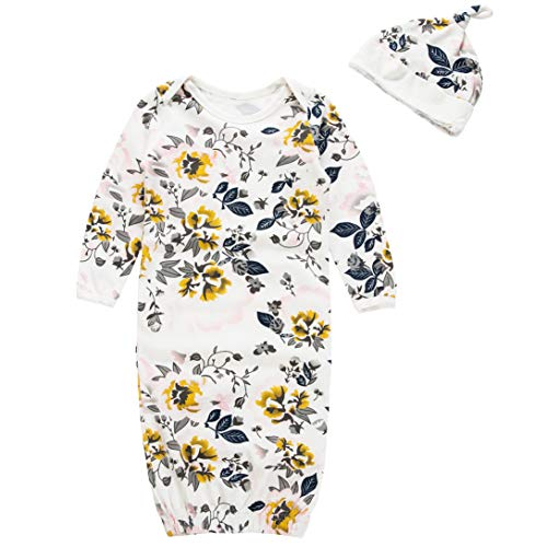 BubbleColor Baby Sleep Gown Cute Floral Cotton Nightgowns Sleeping Bag with Hat for Newborn Infant Girl Onesie Pajamas (Yellow)