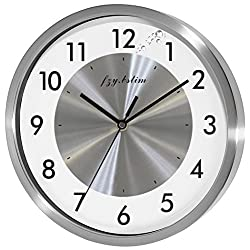 Non Ticking Silent Wall Clock Decorative,Quartz Analog Wall Clock Battery Operated,for Bedroom/Living Room/Office/School/Kitchen Clock,10 Inch,Silver