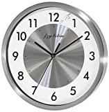 Fzy.bstim Non Ticking Silent Wall Clock Decorative,Analog Stainless Steel Wall Clock Battery Operated,Bedroom/Living Room/Office/Kitchen Clock,10 Inch,Silver