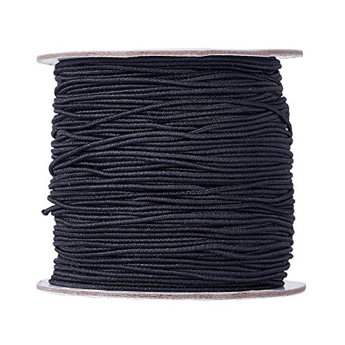 Craftdady 100m/roll 109 Yards Black Nylon Coated Round Elastic Cord Stretch Beading String Threads Fabric Braided Knotted Cords for DIY Jewelry Making Crafting